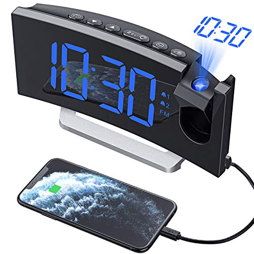 Mpow Projektionswecker, Wecker Digital mit Projektion, Radiowecker mit USB-Anschluss, Dual-Alarm, 5 Alarmtöne mit 3 Lautstärke, 0-100% Helligkeitsdimmer, 4 Projektionshelligkeit, 30 FM Radio