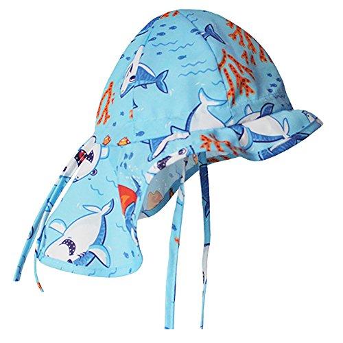 iiSPORT Sommermütze Jungen mit Nackenschutz, Baby Sonnenhut mit Kinnband, UV-Schutz 50+/Größen verstellbar/51cm