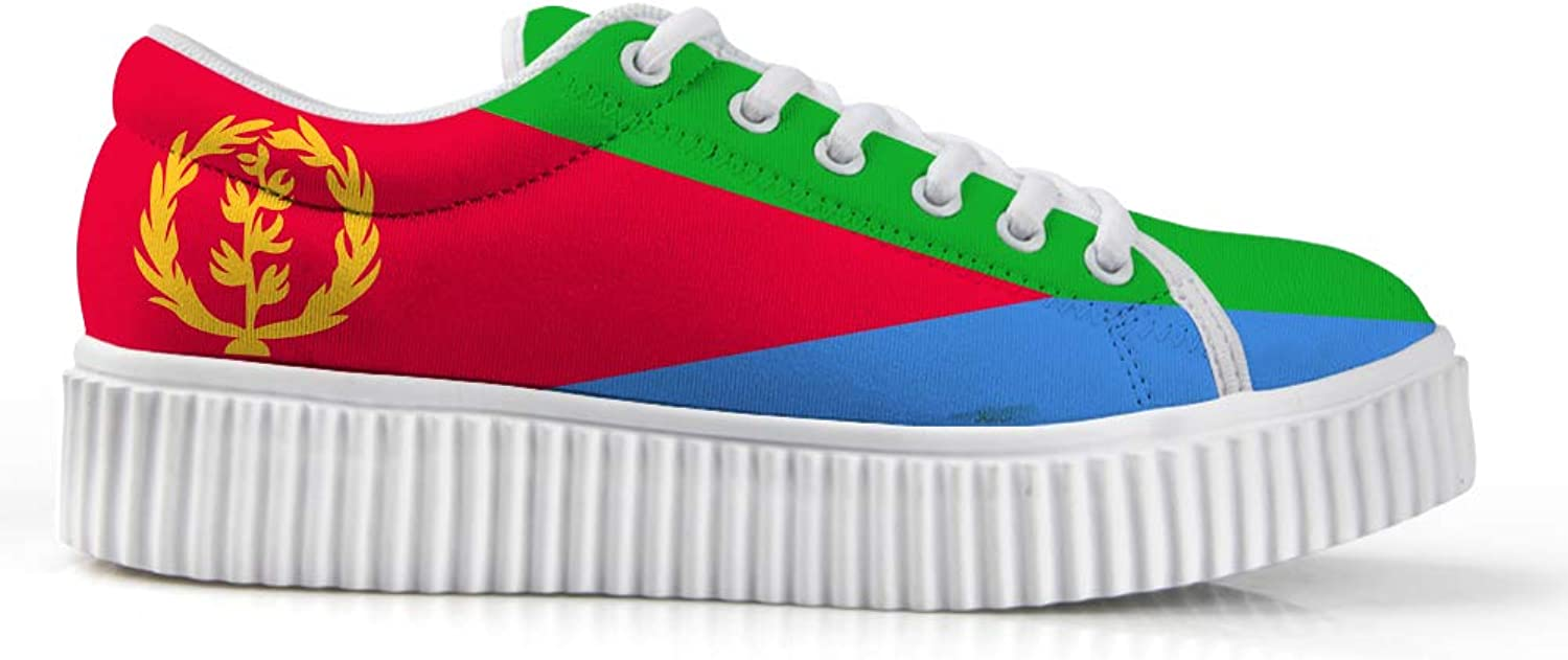 Owaheson Platform Lace up Sneaker Casual Chunky Walking shoes Low Top Women Eritrea Flag