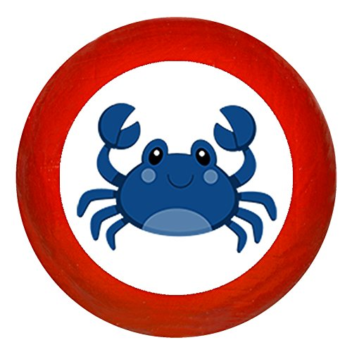 Kindermöbelknopf Möbelknauf Möbelknauf Möbelknopf Möbelgriff Jungen hellblau dunkelblau blau Massivholz Buche - Kinder Krabbe blau Meerestiere maritim - rot
