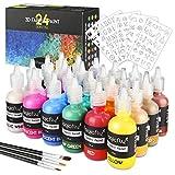 Magicfly Pintura Textil Permanente 24 Colores, 30ml, Pintura 3D para Tela, Pintura Inflable para Tejido, Vidrio, Madera, Cerámica, Piedra, con 3 Plantillas y 3 Pinceles