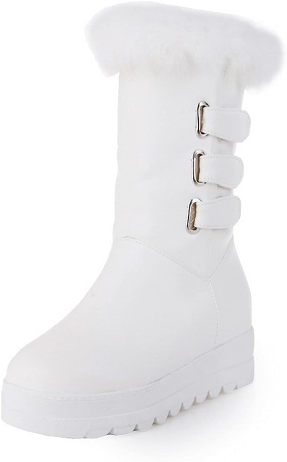 BalaMasa Girls Platform Buckle Heighten Inside Imitated Leather Boots