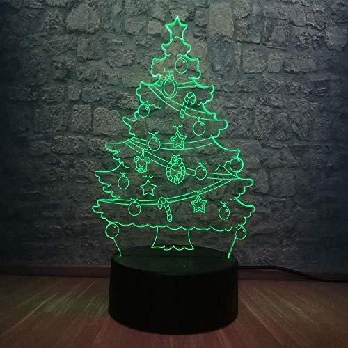 3D Christmas Snow Star Tree Lámpara Led RGB Multicolor Dormitorio Mesa Sleep Night Light Decoración USB Base Niños Regalo de Año Nuevo