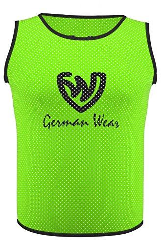 German Wear 10x Fußball Leibchen Trainingsleibchen Markierungshemd Fußballleibchen für Kinder Jugend und Erwachsene, Farbe:Grün, Bibs:Junior (M)