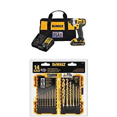DEWALT DCF885C1 20V Max 1/4  Impact Driver Kit and DW1354 14-Piece Titanium Drill Bit Set