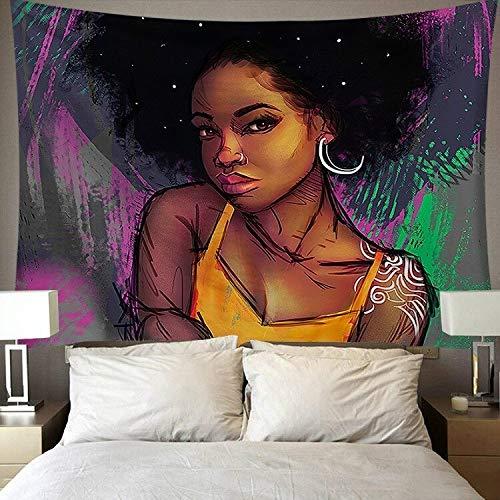 Tapiz de arte negro, tapiz de pared, arte hippie, moda, tapiz de pared para mujeres afroamericanas, tela de fondo a3 73x95cm