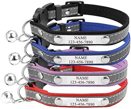 Mogoko Personalized Breakaway Cat Collar Reflective Customized Kitten Pet Collar with Engraved product image