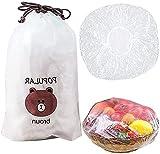 YUEMA 100 piezas Funda protectora de alimentos Tapa de plástico para alimentos Cubiertas de Almacenamiento elásticas de plástico para AlimentosImpermeables para la protección de la frescura Vegetal