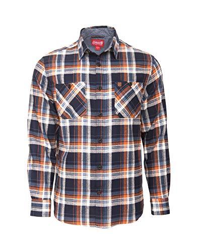 Coleman Cotton Flannel Shirts for Men Comfy and Stylish (Medium, Navy Orange)