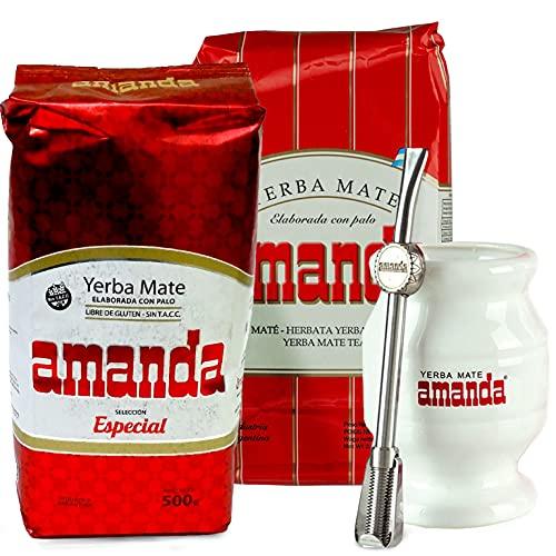 Juego de té mate Yerba Mate Tee Amanda Seleccion Especial 1 kg + Tradicional 0,5 kg | Vaso Mate de cerámica - Calebasse | Pajita de acero inoxidable - Bombilla | Cepillo de limpieza