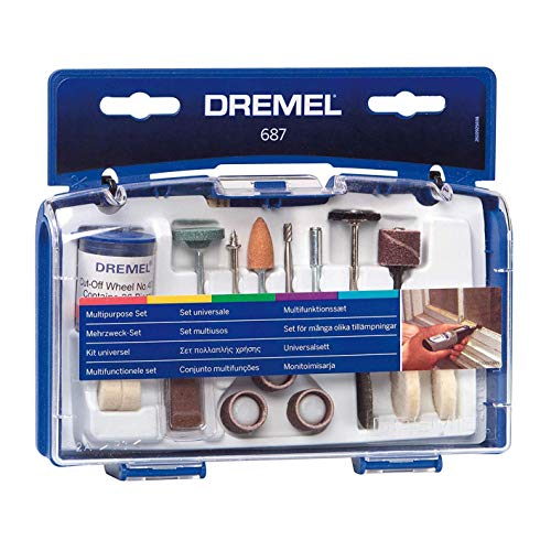 Dremel 687-01 52-Piece All-Purpose Rotary Tool Accessory Kit- Includes a Carving Bit, Sanding Drums, Grinding Stones, Cutting Discs, and a Storage Case , Gray
