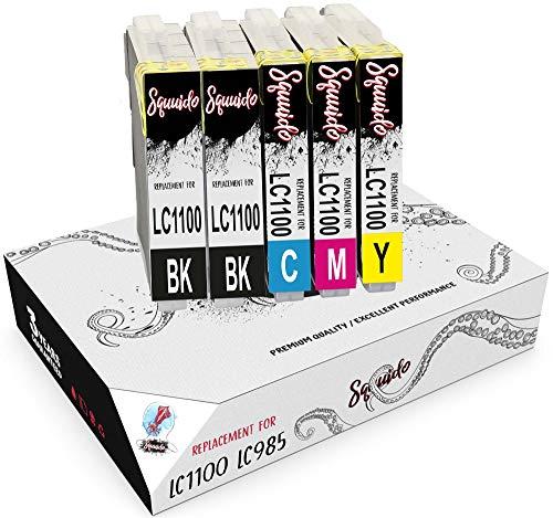 Squuido 5 Cartuchos de Tinta LC1000 LC985 compatibles para Brother MFC-6490CW DCP-J315W DCP-195C DCP-375CW MFC-J615W MFC-5890CN DCP-J140W MFC-490CW DCP-6690CW MFC-J265W DCP-585CW DCP-145C