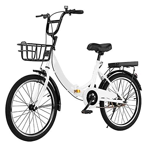HLW White-24inchesBicicletas Plegables, Bicicletas de Velocidad 6 para Adultos, Mujeres, Hombres y Adolescentes, neumáticos Antideslizantes, Estructura de Acero de Alto Carbono