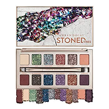 Urban Decay Stoned Vibes Eyeshadow Palette 12 Shimmer + Matte Shades - Super-Creamy Vegan Formula with Tourmaline Crystal - Gift Set Includes Mirror & Double-Ended Makeup Brush