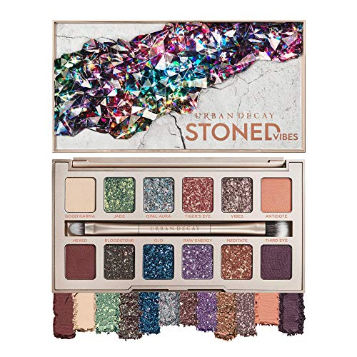 Urban Decay Stoned Vibes Eyeshadow Palette, 12 Shimmer + Matte Shades - Super-Creamy Vegan Formula with Tourmaline Crystal - Gift Set Includes Mirror & Double-Ended Makeup Brush