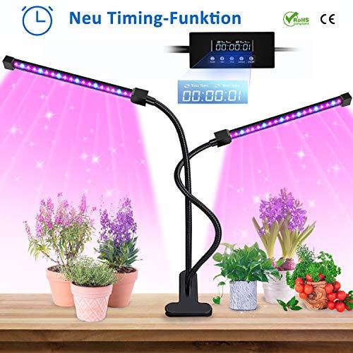 Lovebay LED Pflanzenlampe,2019 automatische EIN-und Ausschalt LED Grow Light Lampe, 20W 40 LEDs Pflanzenlicht Wachstumslampe Pflanzenleuchten 5 Arten Helligkeit/3 Arten Farbmodus für Bonsais Pflanzen