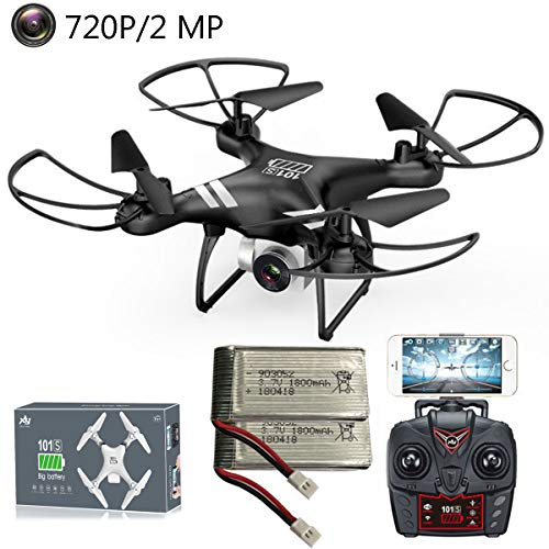 APJS RC Drohne mit 720P HD Kamera Fotos Video Live-Übertragung 2.4G WiFi FPV Drohnen UAV Altitude Hold Headless Modus Speed-Modus Anfänger Quadrocopter, 2 Intelligenten Flugakkus,Schwarz