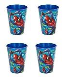 Lot de 4 gobelets pour Enfant 260 ML/au Choix : Spiderman Batman – Thomas – Mickey/gobelet en Plastique sans bisphénol A/Cadeau pour garçon Design Spiderman