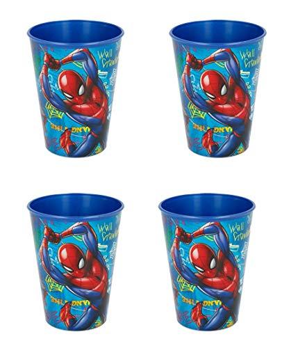 4 Bicchieri per Bambini 260 ml/a Scelta: Spiderman – Batman – Thomas – Topolino/Bicchiere in plastica Senza BPA/Regalo per Ragazzi Design Spiderman