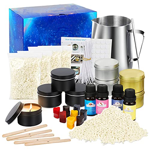 Candle Making Kit, Scented Candles Supplies DIY Gift for Kids, Adults, Beginners, DIY Craft Gift Kits Include Candle Melting Pot, Soy Wax, Centering Devices, Tins, Wicks, Stir Rod & More