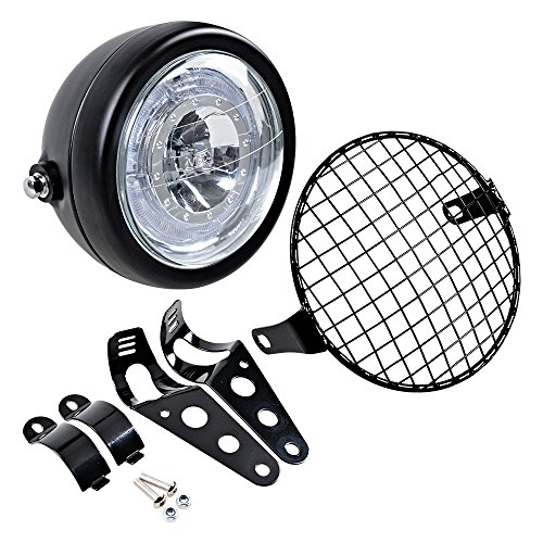"""Completed Set 6 1/2"""" LED Headlight with Halo Ring + Mesh Grill Cover + Side Mount Bracket"""