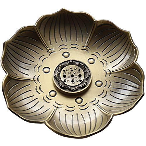 Ouceanwin Räucherstäbchen Halter Zink Legierung Lotus Ash Catcher, Vintage Räuchergefäß Platte Räucherstäbchenhalter für Räucherstäbchen Räucherkegel (Bronze)
