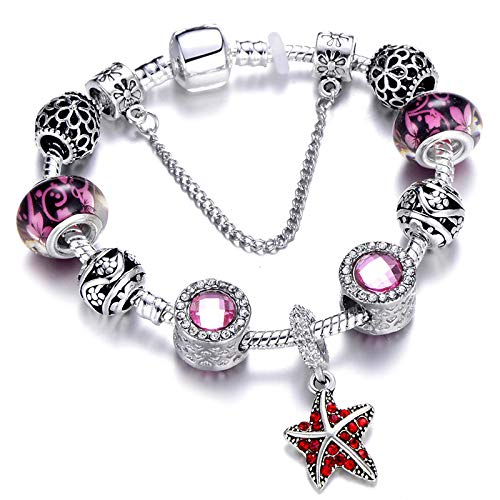 Starfish Pendant Charm Bracelet And Ladies Bracelet Crystal Beads Suitable For Bracelet Jewelry 3 18cm