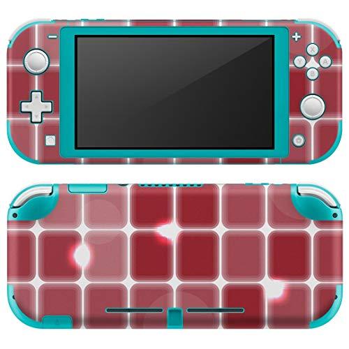 igsticker Nintendo Switch Lite 専用 デザインスキンシール 全面 任天堂 スイッチ ライト 専用 ゲーム機 カバー アクセサリー フィルム ステッカー エアフリー 000519 チェック・ボーダー タイル 赤 [video g