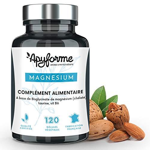 Bisglycinate de Magnésium + Vitamine B6 • Cure Detox, Anti Fatigue, Récupération Musculaire • Complément Alimentaire 100% Français • 120 gél • Fabriqué et Conditionné en France par Apyforme