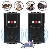 [2 pezzi] Dissuasore martore per auto, protezione contro martore con ultrasuoni e funzione flash a LED, collegamento a batteria da 12 V/USB/alimentatore 3 in 1 per garage, casa, magazzino
