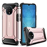 J&D Case Compatible for OnePlus 7T Case, Heavy Duty ArmorBox Dual Layer Shock Resistant Hybrid Protective Rugged Case for OnePlus 7T Case, not for OnePlus 7T Pro, Rose Gold