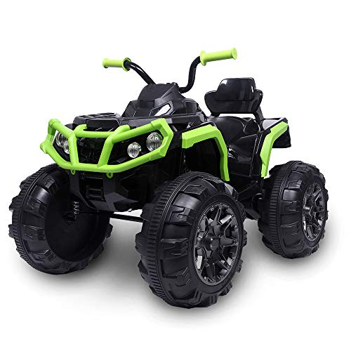 JOYMOR Ride on ATV, Coolest 4 Wheeler Kids Quad 12V Battery Powered Electric ATV Realistic Toy Car with 2 Speeds, Easy Button, Music, USB Port, Spring Suspension, LED Lights and Horns (Green)