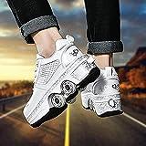 Zapatos retráctiles de rodillos de patada invisibles de 4 ruedas zapatillas de deporte de las ruedas patines de la deformación zapatos casuales regalos para mujeres / niños (Tamaño: 34)-37 Fantas