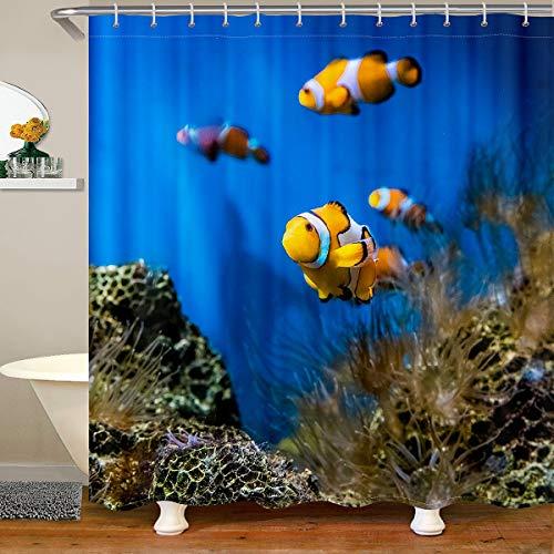 Ozean Wasserdichtes Duschvorhang Textil Nemo Fische Stoff Duschvorhang 180x200 für Jungen Mädchen Meer Unterwasserwelt Mit Haken Wassertier Gedruckt