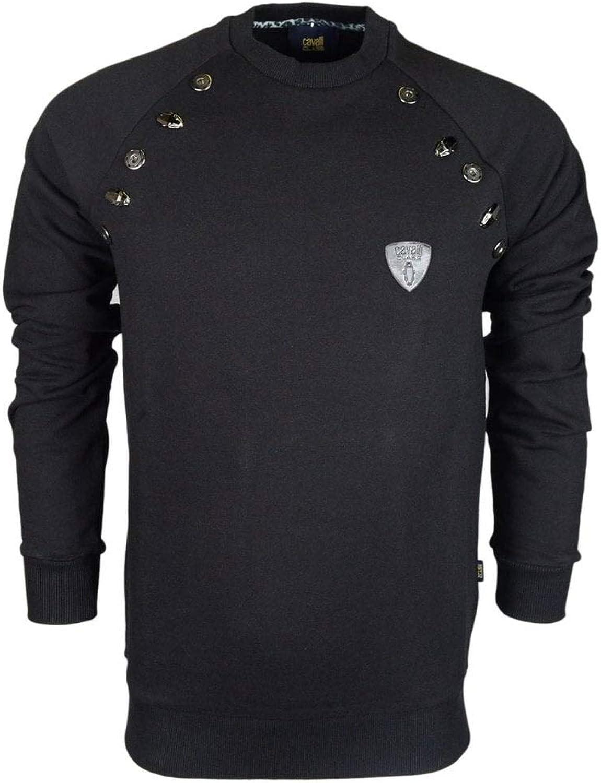 Cavalli Class Felpa Cotton Jersey Metal Logo Black Sweatshirt L