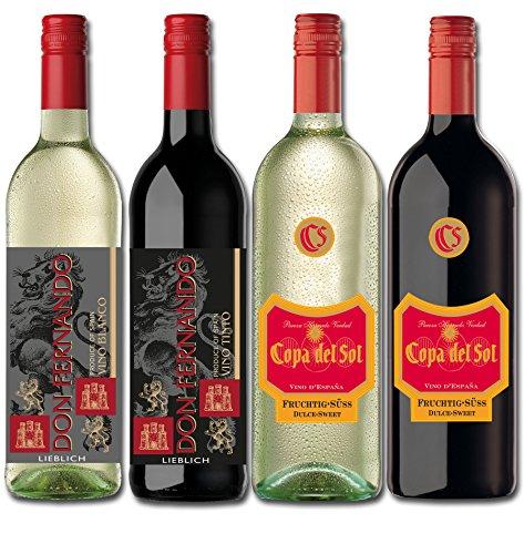 Weinpaket Viva Espana Lieblich Süß (2 x 0.75 l + 2 x 1 l) Rotwein und Weißwein Spanien - Weinprobierpaket 4 Flaschen