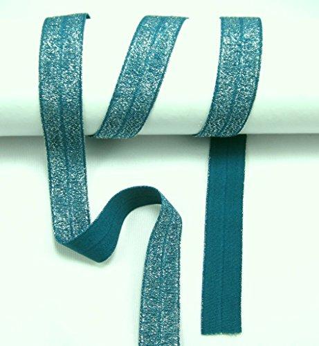 Schrägband elastisch, Glitzer, Falzband, 20/10mm, Kantenband, Gummi, nähen, Meterware, 1 Meter (Petrol)