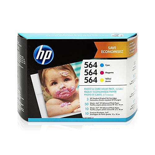 HP 564 | 3 Ink Cartridges with Assorted Photo Paper | Cyan, Magenta, Yellow | Works with HP DeskJet 3500 Series, HP OfficeJet 4600 5500 C6300 6500 7500 Series, B8550, D7560, C510, B209, B210, C309, C310, C410, C510 | CB318WN, CB319WN, CB320WN