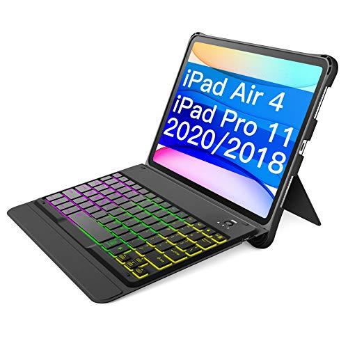 Inateck Tastatur Hülle für iPad Air 4 2020/iPad Pro 11 Zoll 2018/2020, abnehmbare Tastatur mit DIY Hintergrundbeleuchtung, QWERTZ, KB02005