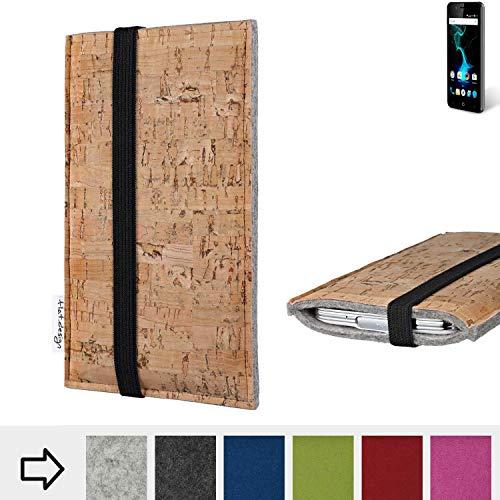 flat.design Handy Hülle Sintra für Allview P6 Pro mit Gummiband Filz Kork Tasche Case Made in Germany