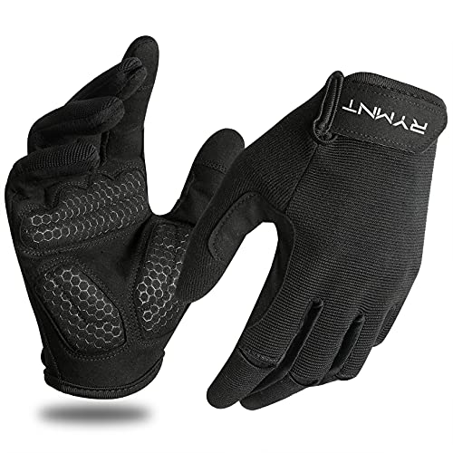 Full Fingers Workout Gloves for Men,Gym Gloves for Weight Lifting, Exercise Crossfit Gloves-Touch Screen-Extra Grip Foam-Padded-Anti-Slip for Fitness,Training,Cycling.Black-Large