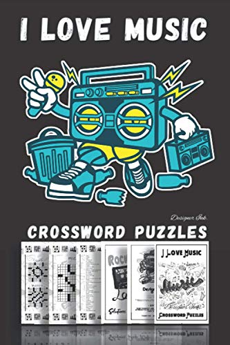 I Love Music and Crossword Puzzles: Professional Custom Themed Art Interior. Fun, Easy to Hard Words for ALL AGES. Cartoon Ghetto Blaster Player.