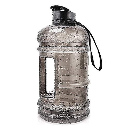 RICWINANN Water Jug 2.2L Large Sport Water Bottle Big Capacity Leakproof Container BPA Free Plastic with Carrying Loop Fitness for Camping Training Bicycle Hiking Gym Outdoor (Black)