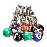 Llavero - TOOGOO(R)16x Llavero de bola de billar Anillo de llave