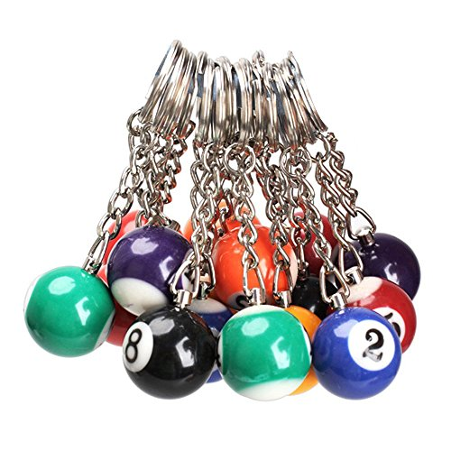 TOOGOO(R) 16x palla da biliardo a catena chiave