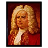 Wee Blue Coo Paintings Portrait Handel Classical Music Composer Art Print Framed Poster Wall Decor 12X16 Inch