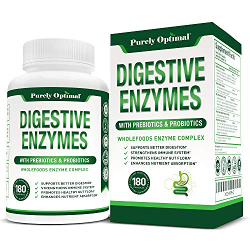 Premium Digestive Enzymes Plus Prebiotics & Probiotics - Digestive Enzyme Supplement for Better Digestion, Immune Support, and Nutrient Absorption - Gas, Constipation & Bloating Relief - 180 Capsules