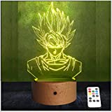 RecontraMago Lamparas de Mesa de Noche - Modelo 2020 Hecho en Madera - Led con Tu Forma Favorita - Lamparas Infantiles de Decoración - Regalo Original para Niños Tactil Modernas Salon (Goku)