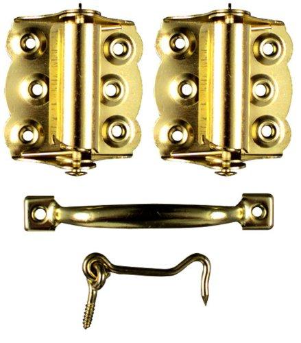 Ideal SecuritySK922 Screen Door Hardware Set2 Spring-Loaded Self-Closing Hinges, Handle, Hook and Eye Brass