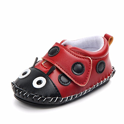 Lidiano Baby Non Slip Rubber Sole Cartoon First Walking Slippers Crib Shoes Newborn Infant Toddler Training Shoes (12-18 Months, Ladybug)